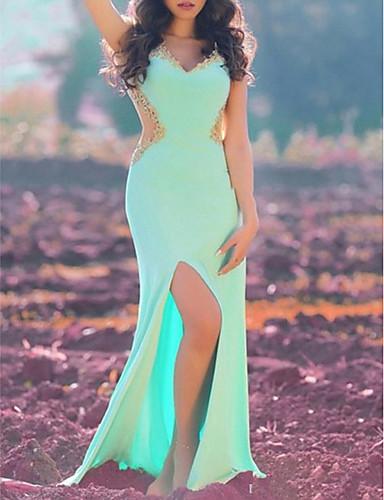 preiswerte Lange Kleider-Eng anliegend V-Ausschnitt Boden-Länge Jersey Abiball / Formeller Abend Kleid mit Perlenstickerei / Applikationen / Vorne geschlitzt durch LAN TING Express