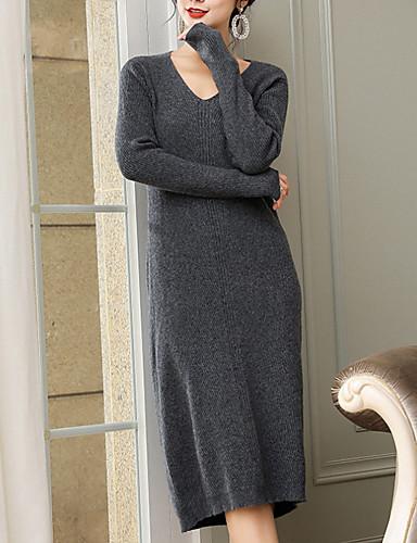 preiswerte Damen Oberteile-Damen Solide Langarm Pullover Pullover Jumper, V-Ausschnitt Schwarz / Blau / Beige Einheitsgröße