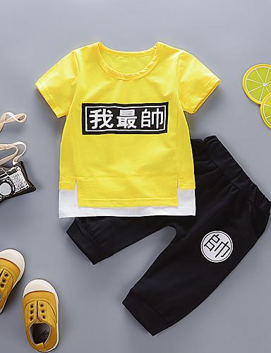 preiswerte Babykleidung Jungen-Baby Jungen Grundlegend Geometrisch / Druck Kurzarm Standard Standard Kleidungs Set Gelb