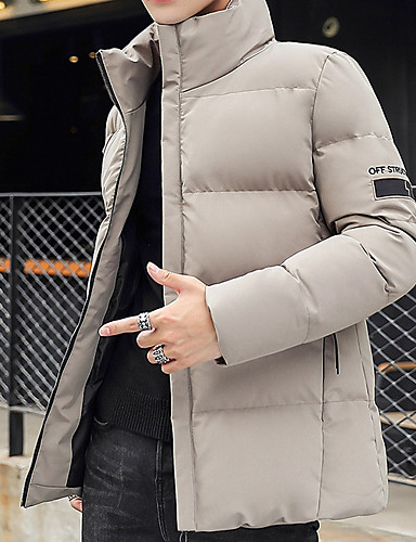 levne Pánské kabáty a parky-Pánské Jednobarevné S vycpávkou, Polyester Černá / Rubínově červená / Béžová US32 / UK32 / EU40 / US34 / UK34 / EU42