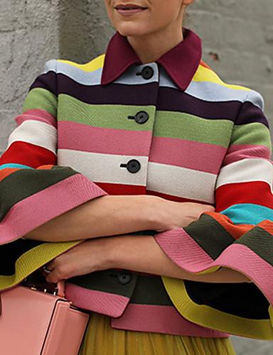 levne Dámské blejzry a bundy-Dámské Denní Podzim zima Standardní Bunda, Proužky Košilový límec 3/4 délka rukávu Polyester Duhová