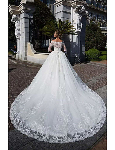 cheap Wedding Dresses-Ball Gown Off Shoulder Chapel Train Lace / Tulle / Lace Over Satin Half Sleeve Formal Sparkle & Shine / Illusion Sleeve Wedding Dresses with Lace / Appliques 2020