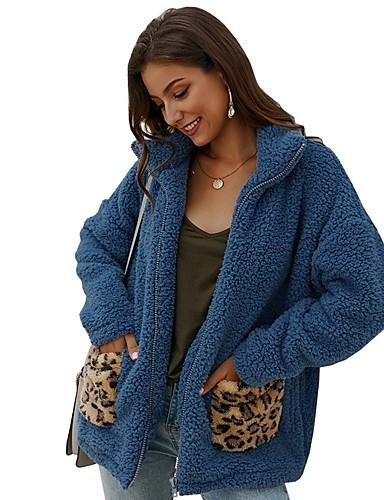 preiswerte Modische Kleidung-Damen Alltag Herbst Winter Lang Kunstpelz-Mantel, Leopard Umlegekragen Langarm Kunst-Pelz Blau / Kamel / Beige