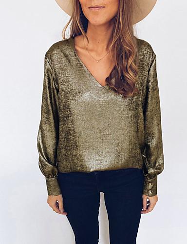billige Dametopper-Bluse Dame - Ensfarget Grunnleggende Gull