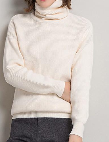 billige Dametopper-Dame Ensfarget Langermet Pullover Genserjumper, Rullekrage Svart / Hvit / Brun M / L