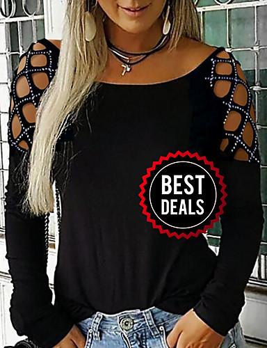 preiswerte Damen Oberteile-Damen Solide T-shirt Schwarz