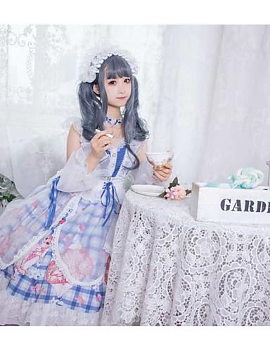 preiswerte Lolita Kleider-Sweet Lolita Country Lolita nette Art Kleid Mädchen Weiblich Japanisch Cosplay Kostüme Blau Katze Plaid / Karomuster Tier Kappe Kurzarm Knie-Länge / Halsketten / Halsketten