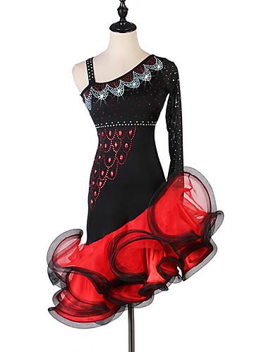 preiswerte Kleidung für Lateinamerikanischen Tanz-Latein-Tanz Kleider Damen Leistung Elasthan / Organza Kristalle / Strass Langarm Kleid