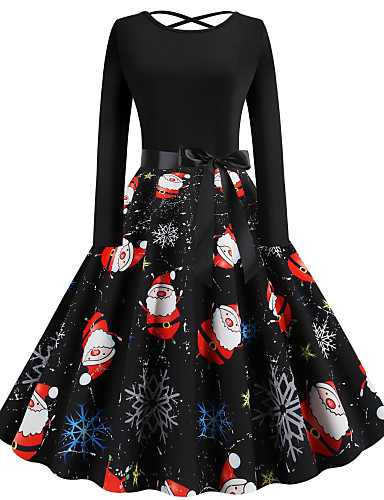 preiswerte Neue im Sortiment-Audrey Hepburn Kleid Damen Erwachsene Weihnachten Weihnachten Weihnachten Polyester Kleid