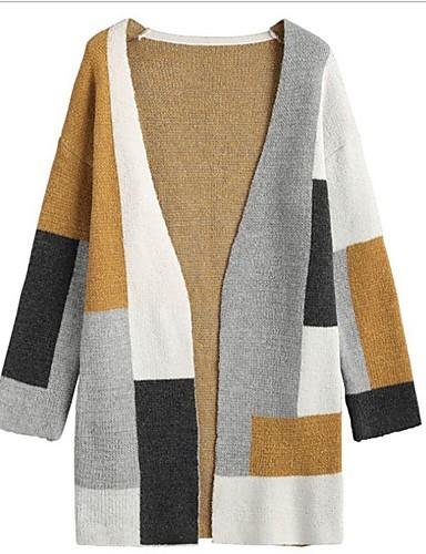 preiswerte Damenbekleidung Ausverkauf-Damen Einfarbig Langarm Strickjacke Pullover Jumper, V-Ausschnitt Beige S / M / L