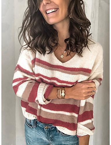 billige Dametopper-Dame Stripet Langermet Pullover Genserjumper, Rund hals Beige S / M / L