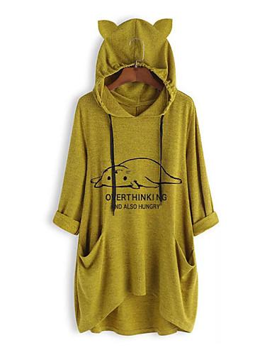 billige T-skjorter til damer-T-skjorte Dame - Ensfarget / Tegneserie / Bokstaver, Lapper / Trykt mønster Gatemote Katt Rosa