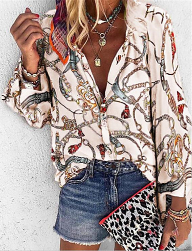 billige Skjorter til damer-Løstsittende Skjortekrage Skjorte Dame - Tribal Lilla
