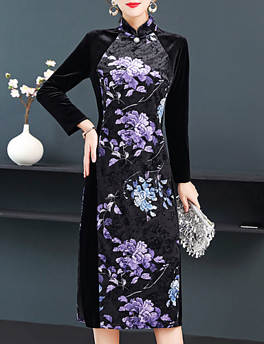 levne Šaty velkých velikostí-Dámské Základní Elegantní A Line Pouzdro Šaty - Květinový, Tisk Midi