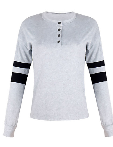 Women's Daily Weekend Street chic T-shirt - Color Block / Solid Colored Black & White, Patchwork Wine