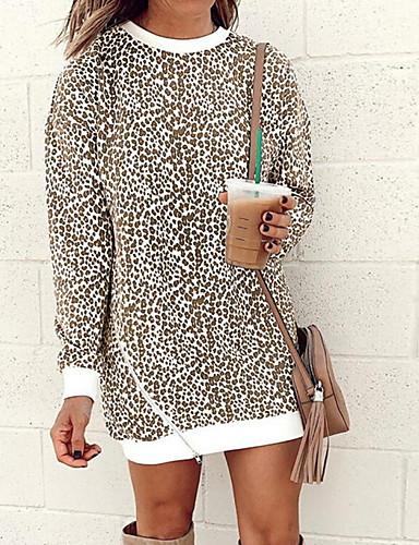 billige Gensere og hettegensere til damer-Dame Fritid Genser Leopard