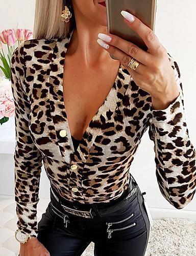 billige Jumpsuits og sparkebukser til damer-Dame Grunnleggende Brun Grå Sparkedrakter, Leopard S M L