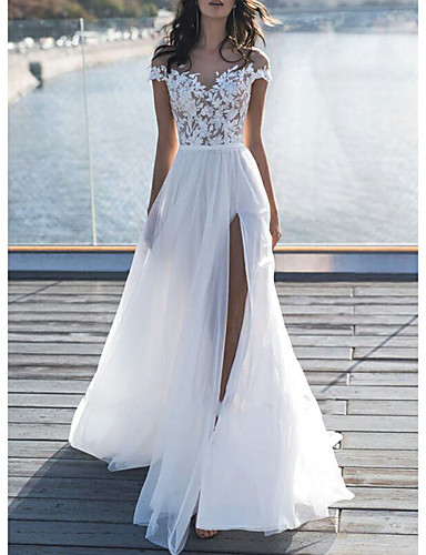 cheap Boho Wedding Dresses-A-Line Off Shoulder Sweep / Brush Train Lace Short Sleeve Beach / Boho See-Through / Illusion Detail Wedding Dresses with Appliques / Split Front 2020