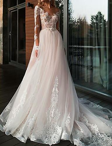 billige Boho Wedding Dresses-A-linje Bryllupskjoler V-hals Hoffslep Tyll Langermet Romantikk Bohem Gjennomsiktige Illusjonssleeve med Blondeinnlegg 2020