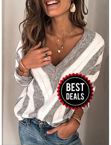 preiswerte Maglioni taglie forti da Donna-Damen Gestreift Langarm Pullover Pullover Jumper, V-Ausschnitt Wein / Purpur / Blau S / M / L