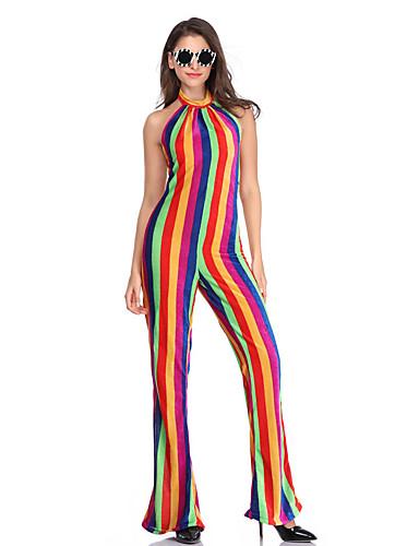 preiswerte Halloween- und Faschingskostüme-Hippie Cosplay Kostüme Party Kostüme Erwachsene Damen One Piece Cosplay Halloween Fest / Feiertage Polyester Rote Damen Karneval Kostüme / Gymnastikanzug / Einteiler
