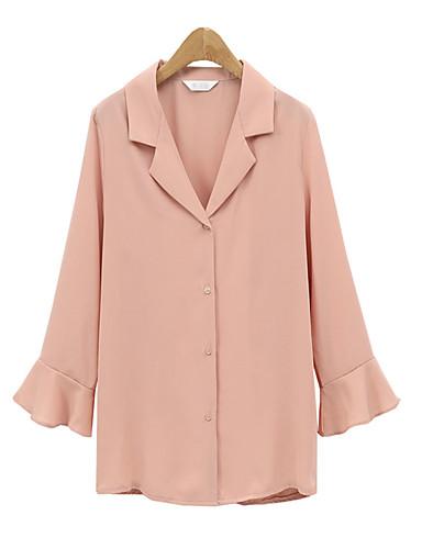 billige Dametopper-Skjorte Dame - Ensfarget, Drapering / Lapper Forretning Rosa