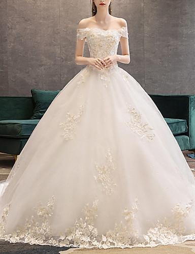 billige Salg-A-linje Bryllupskjoler Løse skuldre Hoffslep Blonder Kortermet Glamorøs Illusjonsdetalj med Perlearbeid Blondeinnlegg 2020