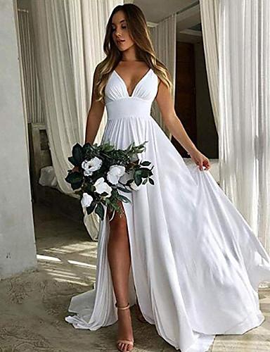 cheap Bridesmaid Dresses-A-Line Plunging Neck Floor Length Chiffon Bridesmaid Dress with Pleats / Split Front