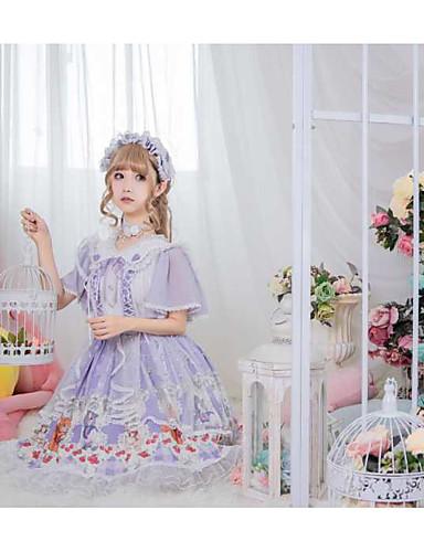 preiswerte Lolita Kleider-Sweet Lolita nette Art Elegant Kleid Mädchen Weiblich Japanisch Cosplay Kostüme Violett Tier Blumenmuster Blume Ein Blütenblatt Kurzarm Knie-Länge / Halsketten / Halsketten