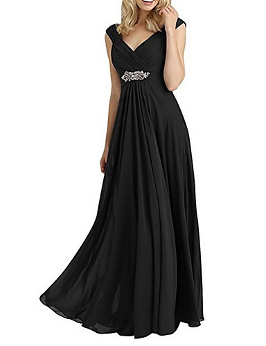 cheap Special Occasion Dresses-A-Line Empire Wedding Guest Formal Evening Dress V Neck Sleeveless Floor Length Chiffon with Crystals 2020