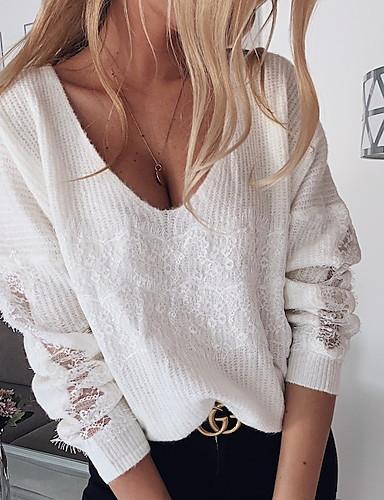 preiswerte Modische Pullover-Damen Solide Langarm Pullover Pullover Jumper, V-Ausschnitt Weiß / Braun S / M / L