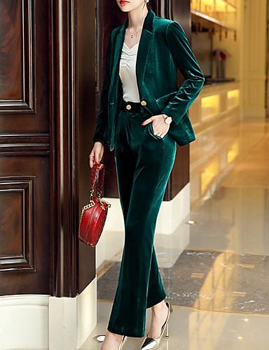 preiswerte Anzüge-Damen Anzüge, Solide Gekerbtes Revers Polyester Blau / Grün