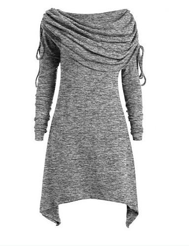 billige Dametopper-Løse skuldre / Hengende krage T-skjorte Dame - Ensfarget, Lapper Elegant Vin