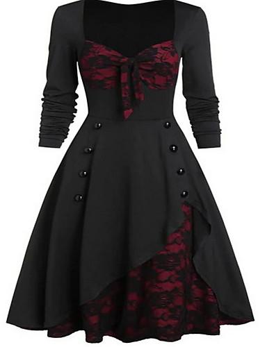 preiswerte Romantische Spitze-Damen 50er Elegant A-Linie Kleid - Spitze, Einfarbig Knielang U-Ausschnitt