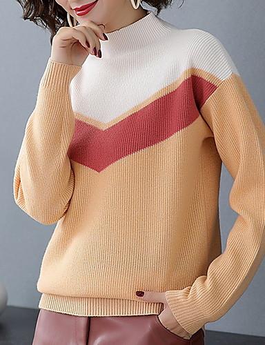 billige Dametopper-Dame Fargeblokk Langermet Pullover Genserjumper Svart / Gul / Blå M / L / XL