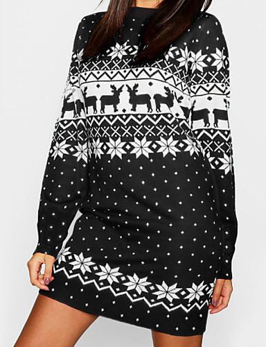 preiswerte ChristmasJumpers-Damen Party Grundlegend Lose Strickware Kleid Tier Mini