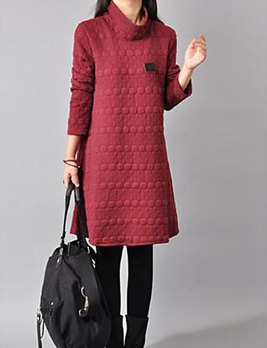 preiswerte Casual Kleider-Damen Elegant Strickware Kleid Solide Übers Knie