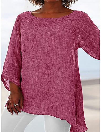 billige T-skjorter til damer-T-skjorte Dame - Ensfarget, Lapper Grunnleggende Svart