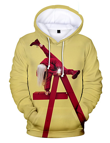 cheap Cosplay & Costumes-Inspired by Cosplay Billie Eilish Cosplay Costume Hoodie Pure Cotton Print Printing Fancy Hoodie For Men's / Women's