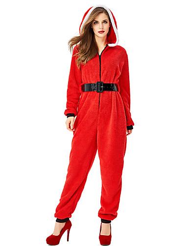 preiswerte Cosplay & Kostüme-FrauClaus Austattungen Damen Erwachsene Kostüm-Party Weihnachten Weihnachten Korallenfleece Gürtel / Kapuzenshirt