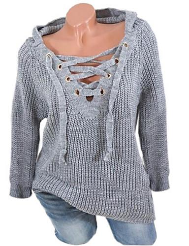 preiswerte Damen Oberteile-Damen Freizeit mit Schnürung Solide Langarm Pullover Pullover Jumper, V-Ausschnitt Frühling / Herbst / Winter Schwarz / Weiß / Rosa S / M / L