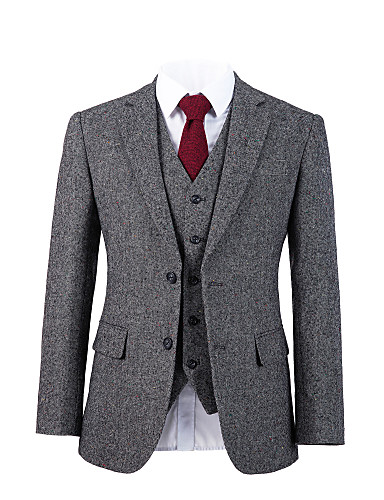 tanie Garnitury męskie na miarę-szary tweedowy wełniany garnitur na zamówienie
