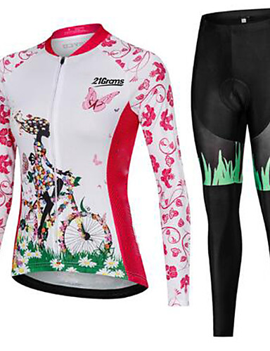 cheap Cycling-21Grams Women's Long Sleeve Cycling Jersey with Tights Pink Skull Bike Breathable Quick Dry Winter Sports Skull Mountain Bike MTB Road Bike Cycling Clothing Apparel / Micro-elastic