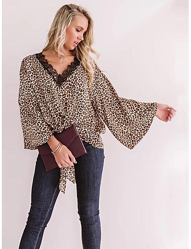 billige T-skjorter til damer-T-skjorte Dame - Leopard, Trykt mønster Gatemote Brun