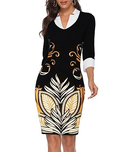 levne Pracovní šaty-Dámské Základní Bodycon Pouzdro Šaty - Geometrický Nad kolena