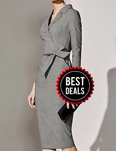levne Pracovní šaty-Dámské Základní A Line Šaty - Jednobarevné Délka ke kolenům