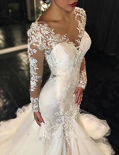 baratos Pré-Liquidação-Sereia Decote V Cauda Escova Tule Vestidos de casamento feitos à medida com Aplicação de renda de LAN TING Express