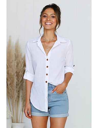 billige Dametopper-Skjorte Dame - Ensfarget Forretning / Gatemote Hvit