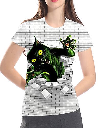 billige Dametopper-T-skjorte Dame - 3D / Grafisk / Dyr, Trykt mønster Grunnleggende / overdrevet Katt Grå