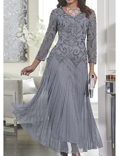 cheap Elegant Dress-Women's Maxi Slim Swing Dress - Solid Colored Lace V Neck Spring Gray M L XL XXL
